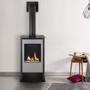 Solas Free Standing Fireplace Black Top Vent